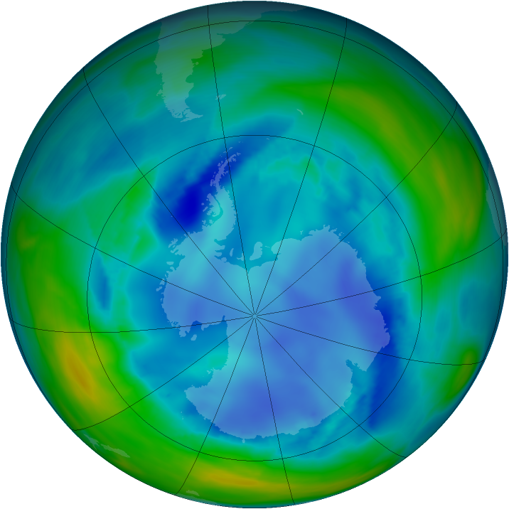Antarctic ozone map for 14 August 2006